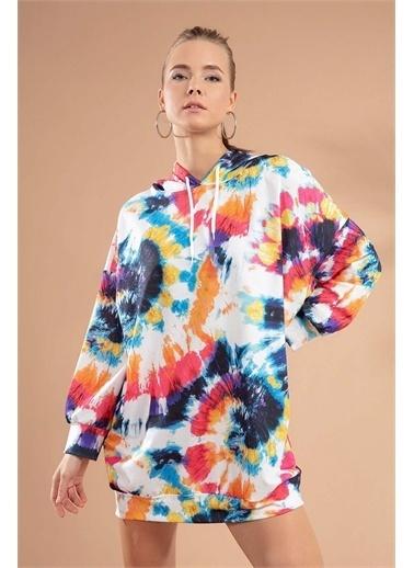 Pattaya Pattaya Kadın Batik Desenli Kapşonlu Sweatshirt Elbise Y20W110-4125-12 Renkli